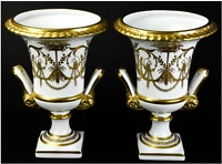 VINTAGE PAIR CHELSEA HOUSE Neoclassical Hand Painted Porcelain Serves Style Urns