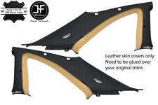 BLACK & BEIGE 2X B C PILLAR LEATHER COVER FITS NISSAN SKYLINE GTS GTR R33 93-98