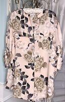 NEW Plus Size 1X 2X Blush Pink Blouse Floral Top Calvin Klein Shirt $79