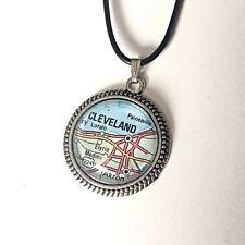 LORAIN ELYRIA PAINESVILLE CLEVELAND OHIO USA Map Pendant necklace ATLAS