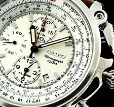 NEW MEN'S BROWN LEATHER 100M SEIKO FLIGHTMASTER ALARM CHRONOGRAPH WATCH SNAB71P1