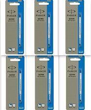 6 x Parker Quink Flow BallPoint Ball point Pen Refills BallPen Blue Fine New