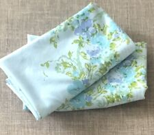 Vintage Pair Utica KING Pillowcases Blue Turquoise Periwinkle Roses Cottage