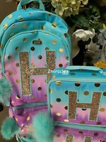 Justice OMBRE Pom Pom Foil Dot Initial H Backpack & Lunch Tote School Gift