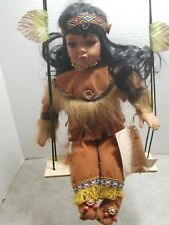 "Topp Collection Porcelain Doll 12"" beautifully costumed Swinging Native Girl"