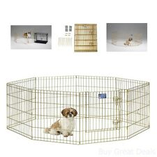 New Dog Exercise Pen w/ Door Enclosures Pet Play Yard Animal Fence Outdoor Crate