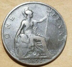 1897 Great Britain Penny United Kingdom 1 Pence Coin British English UK England