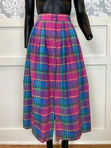 1990s Vintage Purple Plaid Maxi Skirt Size Small (6)