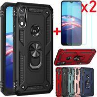For Motorola Moto E 2020/E7 Shockproof Armor Case Cover+Glass Screen Protector