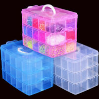 3 Layer Plastic Clear Jewelry Bead Organizer Box Storage Container Case Craft
