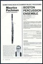 1962 Maurice Pachman photo bassoon recital tour booking vintage print ad