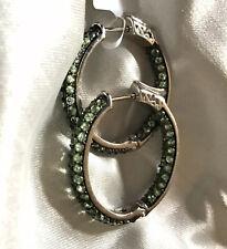 3.5 Ct, Tsavorite Garnet Hoop Earrings In Platinum Overlay Sterling Silver 8.35