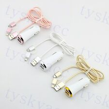 Car USB Charger Lighter 2 In 1 Data Cable Line For Smart Cell Phone Accessories