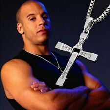 Silver Cross Pendant Necklace Fashion Crystal Chain Men's Jewelry Charm Gifts