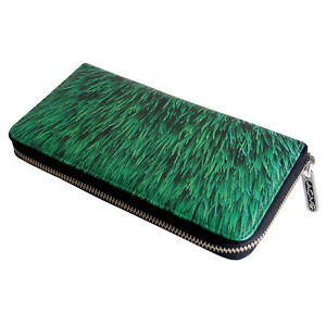 """ACME """"Lawn"""" Printed 100% Leather Wallet Organizer by Rockwell Group Pre-owned"""