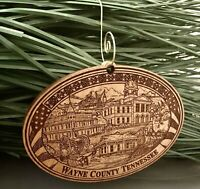 Wayne County TN Waynesboro Tennessee Wooden Engraved Christmas Ornament