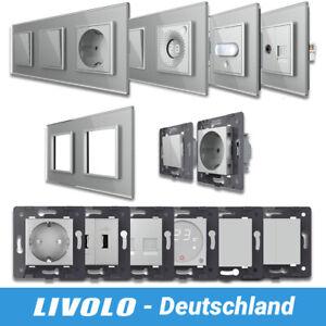 LIVOLO DESIGN Lichtschalter Steckdose Wippschalter Kippschalter Glasrahmen Grau