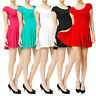 Womens Fitted Stretch Casual Short Sleeve Flared Pleasted Skater Dress NEWDR10