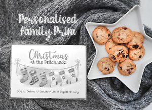 Personalised Family Print Christmas - Watercolour Stockings A4 - Grey