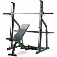 Marcy SM600 Smith Machine Power Rack Cage With Incline Decline Weight Bench