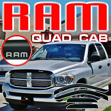 Ram 02 03 04 05 06 07 08 Quad Cab Window Visors Sun Deflector Shades with Logo