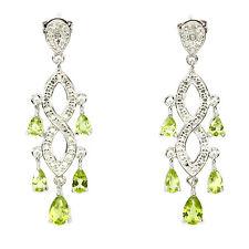 GENUINE GEMS GREEN PERIDOT& 2pcs DIAMOND STERLING 925 SILVER CHANDELIER EARRINGS
