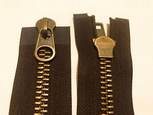 NO-10,2WAY,YKK,ANTIQUE METAL,BROWN TAPE,36 INCHES/91 CM LONG,OPEN ENDED ZIP