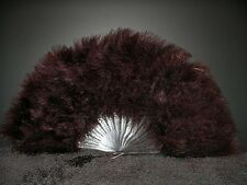 """MARABOU FEATHER FAN - BROWN Feathers 12"""" x 20"""" Burlesque/Wedding/Bridal/Craft"""