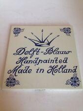 VINTAGE Delfts Blauw Tile Wall Decor Trivet Holland