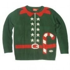 Crazy Grannys Knitted Elf Christmas Jumpers Festive Outfit Christmas Party (L)
