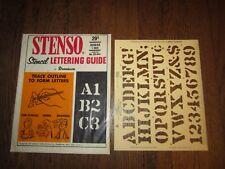 "1966 Dennison Stenso Paper Stencil Lettering Guide Alphabet Roman 1"" Crafting"