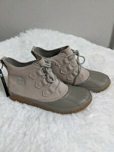 Sorel Women's Out N About Plus Waterproof Leather and Suede Duck Boot, Taupe 7.5
