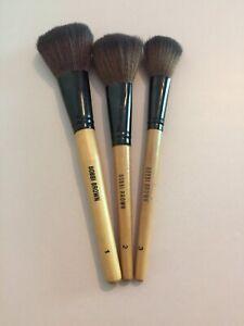 Bobbi Brown 3 Powder Brush Blusher Bronzer Highlight Make Up Brushes Set 1 2 3