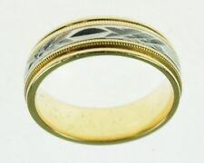Ladies 18K Solid Yellow Gold Platinum Estate Wedding Band Ring 197131 NR