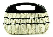 NANCY GONZALEZ $2,250 Woven Ivory Snakeskin & Black Crocodile Skin Bag