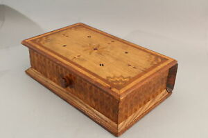 Antique American Folk Art Inlaid Wood Puzzle Lock, BOOK BOX, NR