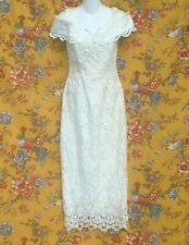 VINTAGE 80S SCOTT MCCLINTOCK CREAM NET & FLORAL LACE PARTY DRESS SIZE 6  AS IS!