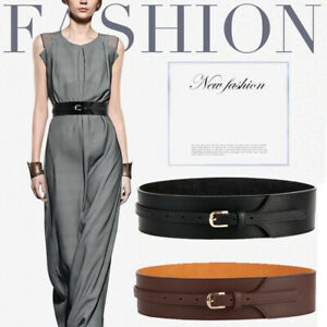 Women's Simple Fashion Real Leather Wide Waist Belt Pin Buckle Waistband