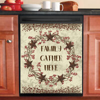Country Primitive Decor Kitchen Dishwasher Magnet - Barn Star Wreath