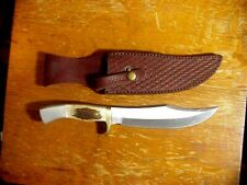 Custom Local HANDMADE VINTAGE HUNTING Bowie  KNIFE in Leather SCABBARD
