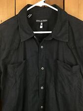 Men's AFFLICTION Black Long Sleeve Embroidered Button Front Shirt Size XL