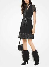 Michael Kors Asha Black Suede Feather Dress Stiletto Boots Size 7.5