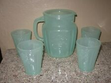 New listing Vintage Green Jadeite Pitcher & 4 Glasses Tumblers- Sunflowers- Jade Glass