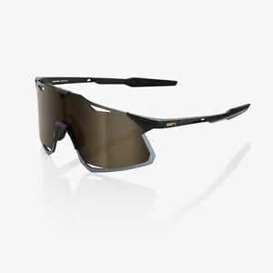 100% Hypercraft Matte Black Cycling Sunglasses - Soft Gold Mirror Lens + Clear