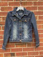 Gap Distressed Size XXL Large Blue Button Front Long Sleeve Denim Jean Jacket