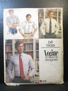 Vogue Men Pattern 2586 Men's Size 16 Neck Shirt Cut Complete Bill Blass Designer