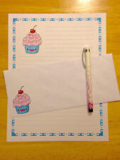 Kawaii Cupcake Stationery Writing Set With Envelopes - Lined Stationary
