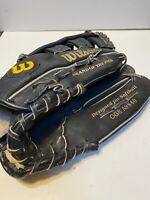 """Wilson Glove RHT OG8 A9840 12"""" Black/Gold Lettering Optima Gold Grip-Tite Pocket"""
