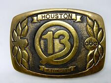 VINTAGE 1978 **KTRK-TV CHANNEL 13 HOUSTON TX ABC** TV SOLID BRASS BELT BUCKLE