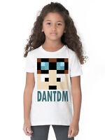 DAN DTM FACE PIXELS 8 BIT MINECRAFTER GAMER BLOGGER CK09 KIDS WHITE T SHIRT
